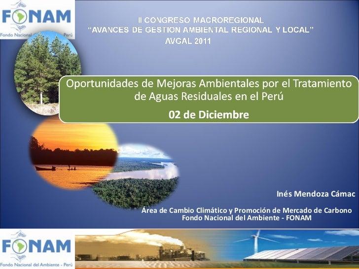 Inés Mendoza Cámac Área de Cambio Climático y Promoción de Mercado de Carbono Fondo Nacional del Ambiente - FONAM