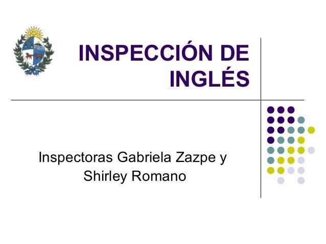 INSPECCIÓN DEINGLÉSInspectoras Gabriela Zazpe yShirley Romano