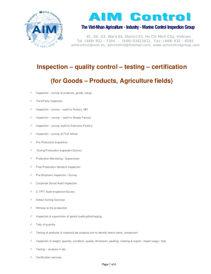 Inspection – quality control – testing – certification  for goods – products, agriculture fields