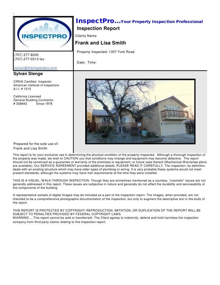 Inspectpro sample report