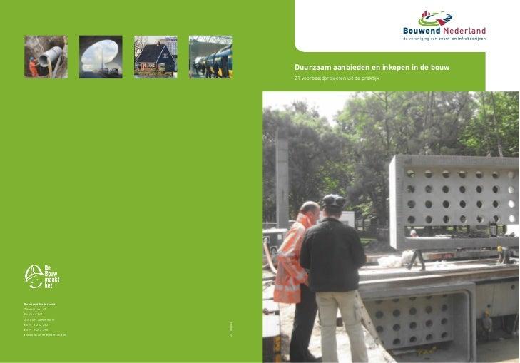 Duurzaam 2009                                        28 januari aanbieden en inkopen in de bouw                           ...