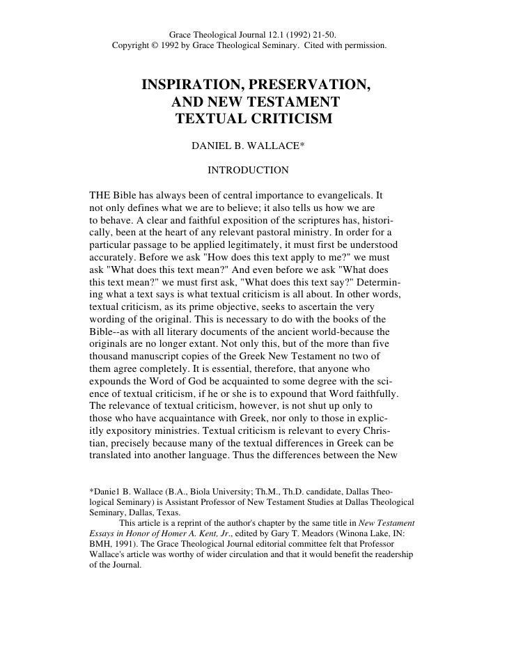 Inspiration preservation and nt textual criticism