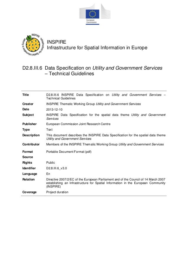 INSPIRE Data Specification - Utility and Governamental Services v3.0