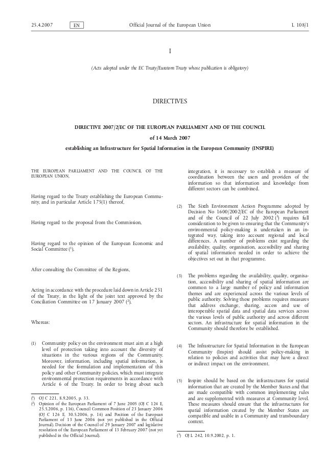 I (Acts adopted under the EC Treaty/Euratom Treaty whose publication is obligatory) DIRECTIVES DIRECTIVE 2007/2/EC OF THE ...
