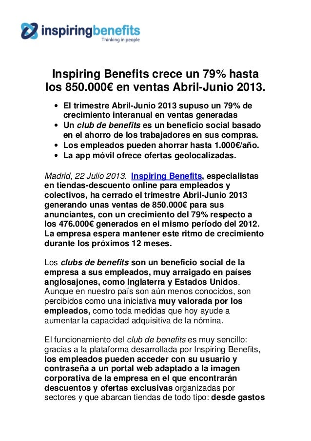 Inspiring benefits genera 850.000€ de ventas en sus tiendas online de abril a junio 2013 nota prensa oficial 21 jul13