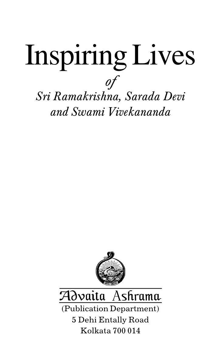Inspiring Lives              ofSri Ramakrishna, Sarada Devi   and Swami Vivekananda    (Publication Department)      5 Deh...