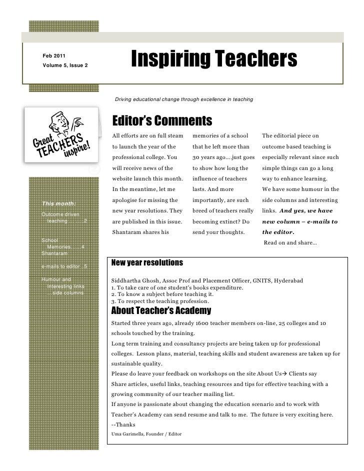 Feb 2011Volume 5, Issue 2               Inspiring Teachers                         Driving educational change through exce...