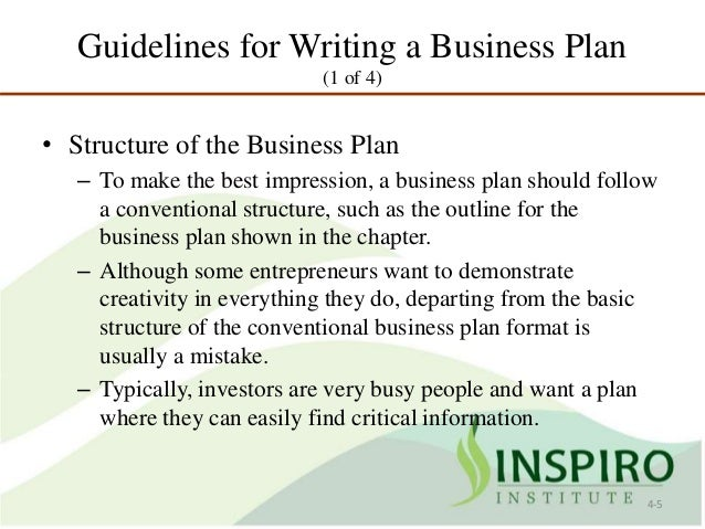 Key features of a business plan