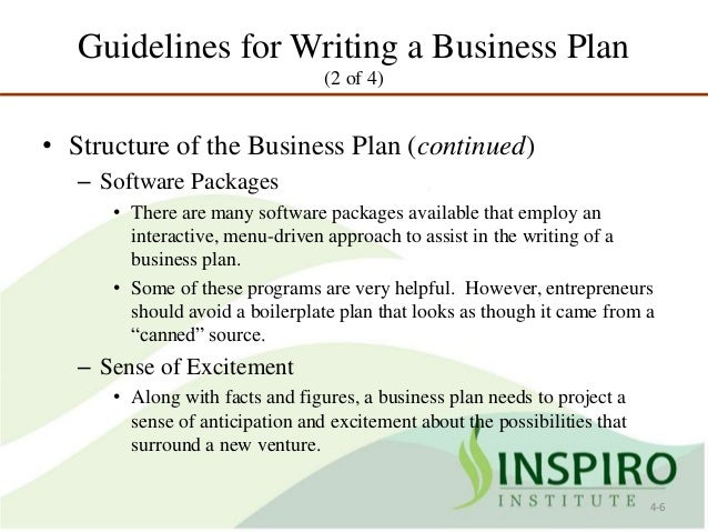 Plan of development in writing