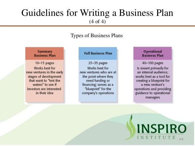 Guidelines for business plan