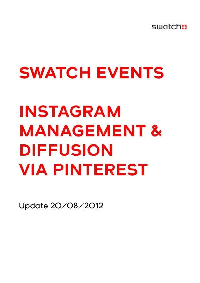 SWATCH EVENTSINSTAGRAMMANAGEMENT &DIFFUSIONVIA PINTERESTUpdate 20/08/2012