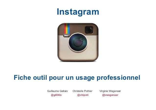 InstagramFiche outil pour un usage professionnel          Guillaume Gallais   Christelle Pothier   Virginie Wagenaar      ...
