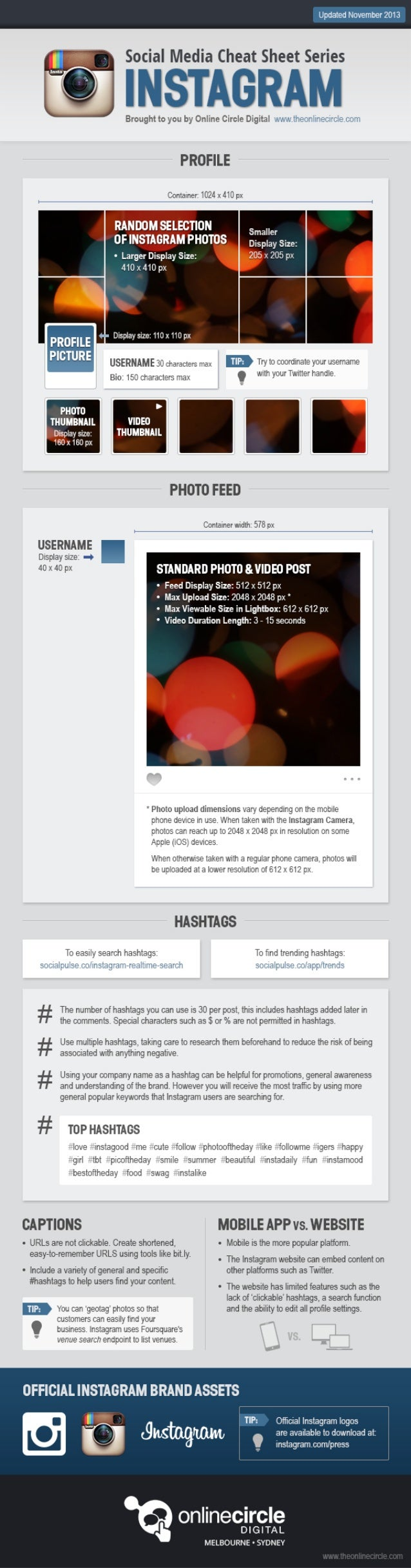 Instagram Sizes and Dimensions Cheat Sheet 2013 Online Circle Digital Agency have made it easier than ever for you to find ...