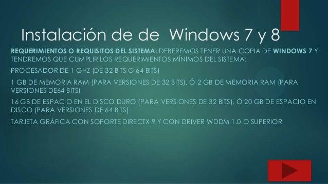 Instalación de de  windows 7 y 8