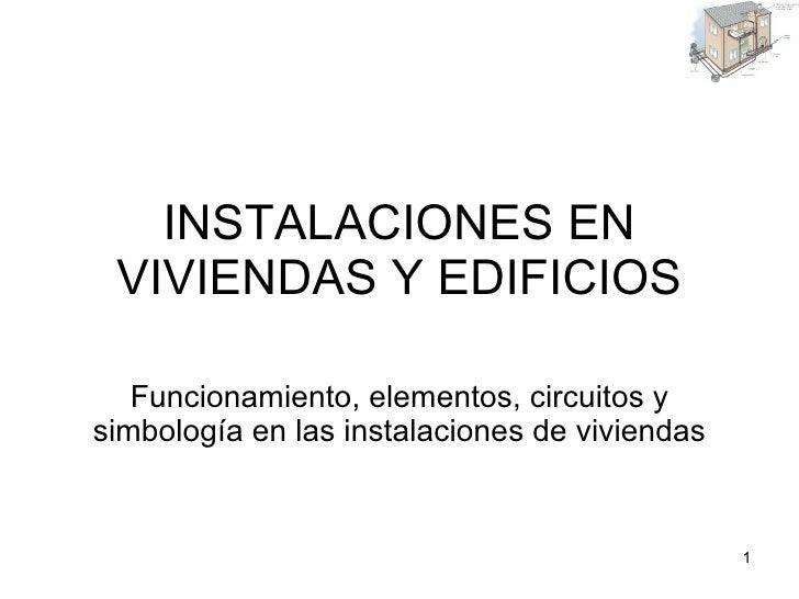 INSTALACIONES EN VIVIENDAS Y EDIFICIOS Funcionamiento, elementos, circuitos y simbología en las instalaciones de viviendas