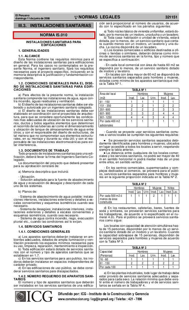 El Peruano domingo 11 de junio de 2006  R  EP  UB  LICA DEL P ER  U  NORMAS LEGALES  III.3. INSTALACIONES SANITARIAS NORMA...
