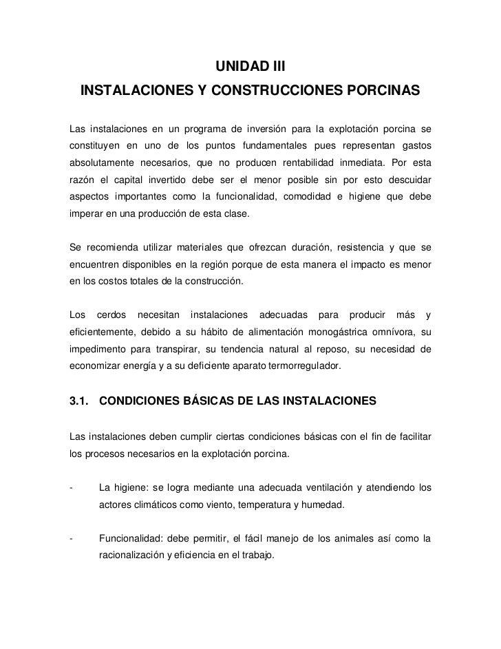 UNIDAD III     INSTALACIONES Y CONSTRUCCIONES PORCINAS  Las instalaciones en un programa de inversión para la explotación ...