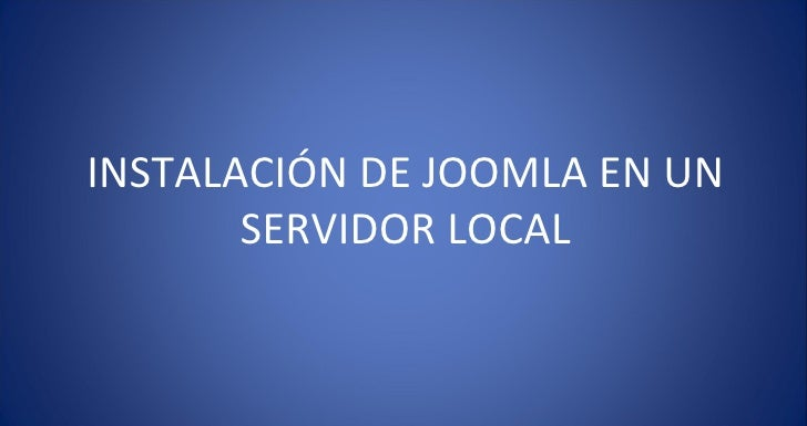 Instalacion joomla local