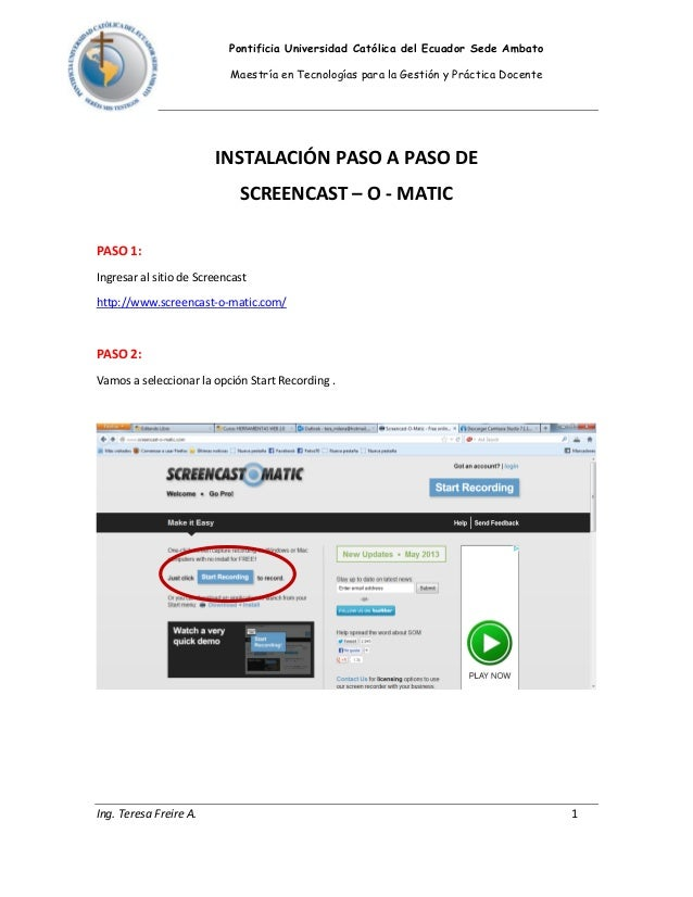 Instalacion screencast