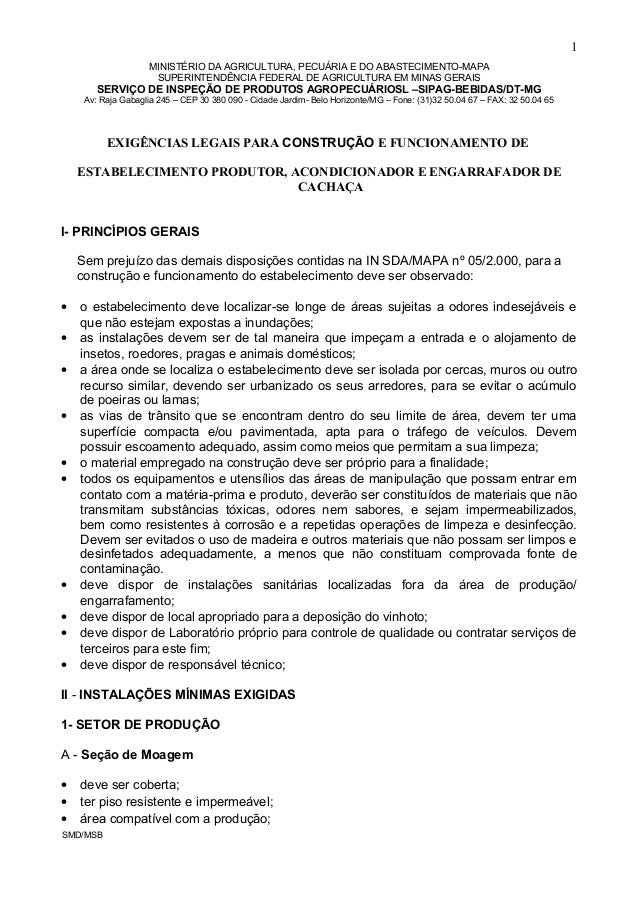 MINISTÉRIO DA AGRICULTURA, PECUÁRIA E DO ABASTECIMENTO-MAPA SUPERINTENDÊNCIA FEDERAL DE AGRICULTURA EM MINAS GERAIS SERVIÇ...