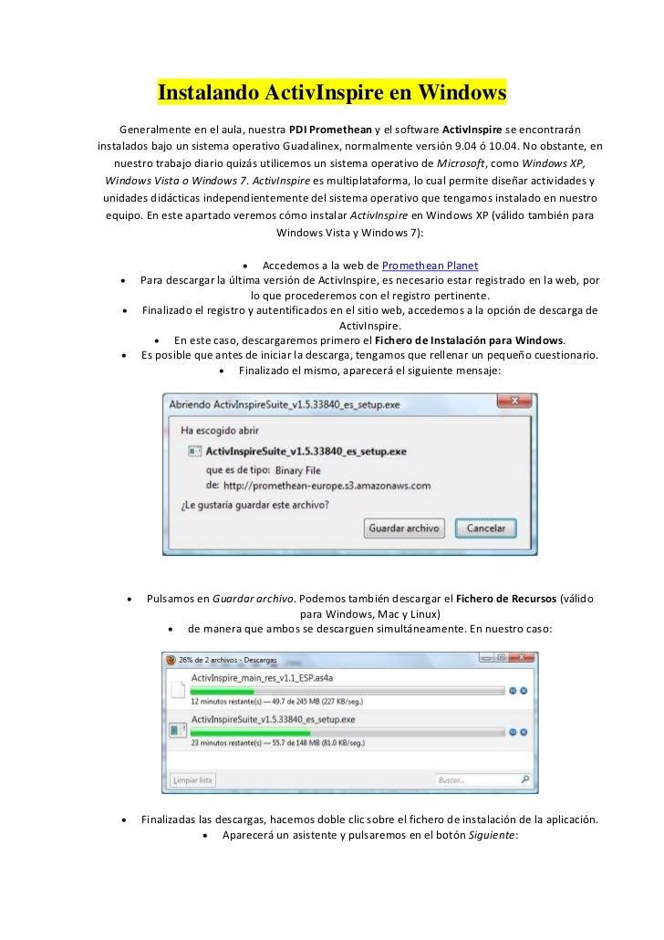 Instalando ActivInspire en Windows     Generalmente en el aula, nuestra PDI Promethean y el software ActivInspire se encon...