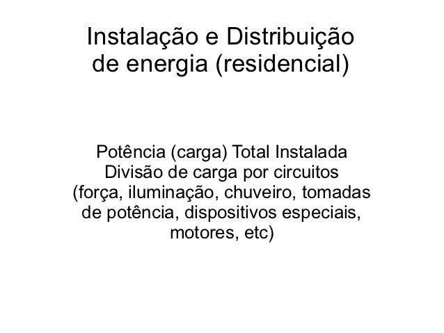 Instalação e Distribuição  de energia (residencial)   Potência (carga) Total Instalada     Divisão de carga por circuitos(...