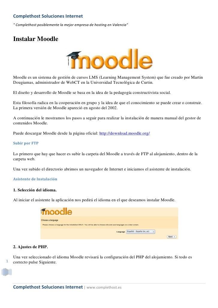 """Complethost Soluciones Internet     """" Complethost posiblemente la mejor empresa de hosting en Valencia""""       Instalar Moo..."""