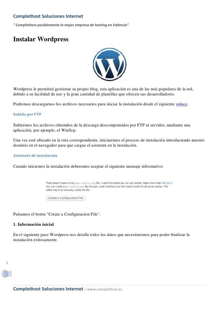 """Complethost Soluciones Internet     """" Complethost posiblemente la mejor empresa de hosting en Valencia""""       Instalar Wor..."""