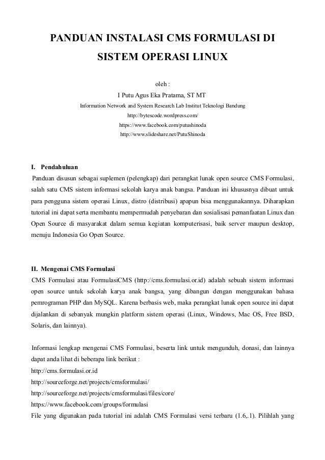 Instalasi cms formulasi di linux
