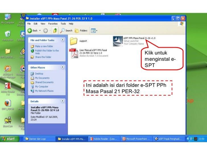 Klik untuk                           menginstal e-                           SPT   Ini adalah isi dari folder e-SPT PPh Ma...