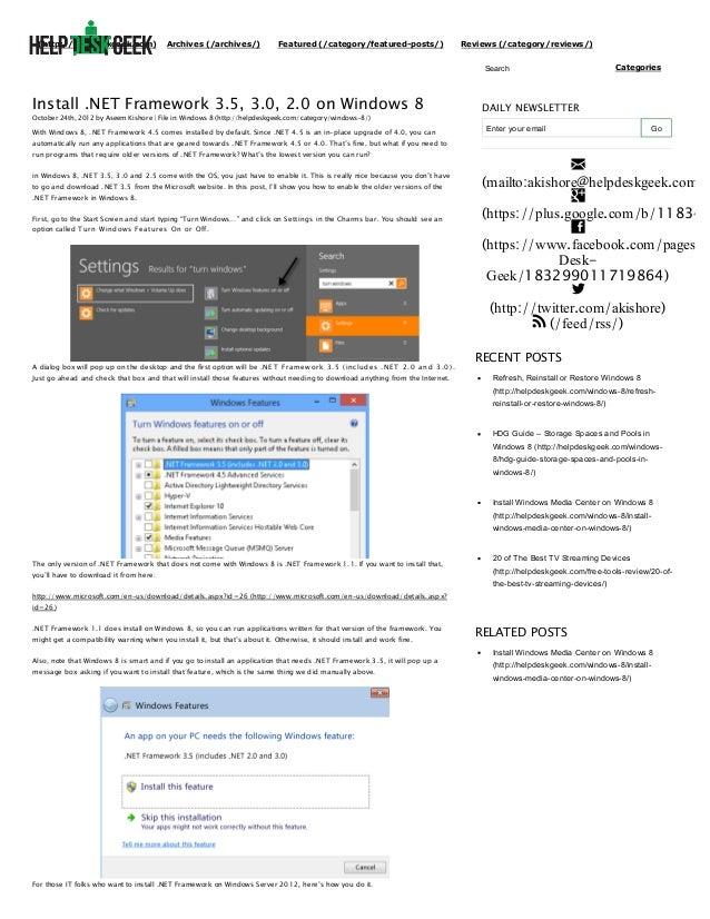 Install .net framework 3.5, 3.0, 2