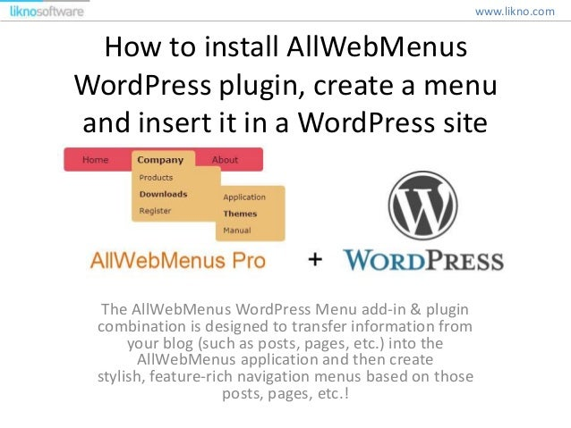How to install AllWebMenus WordPress plugin, create a menu and insert it in a WordPress site The AllWebMenus WordPress Men...