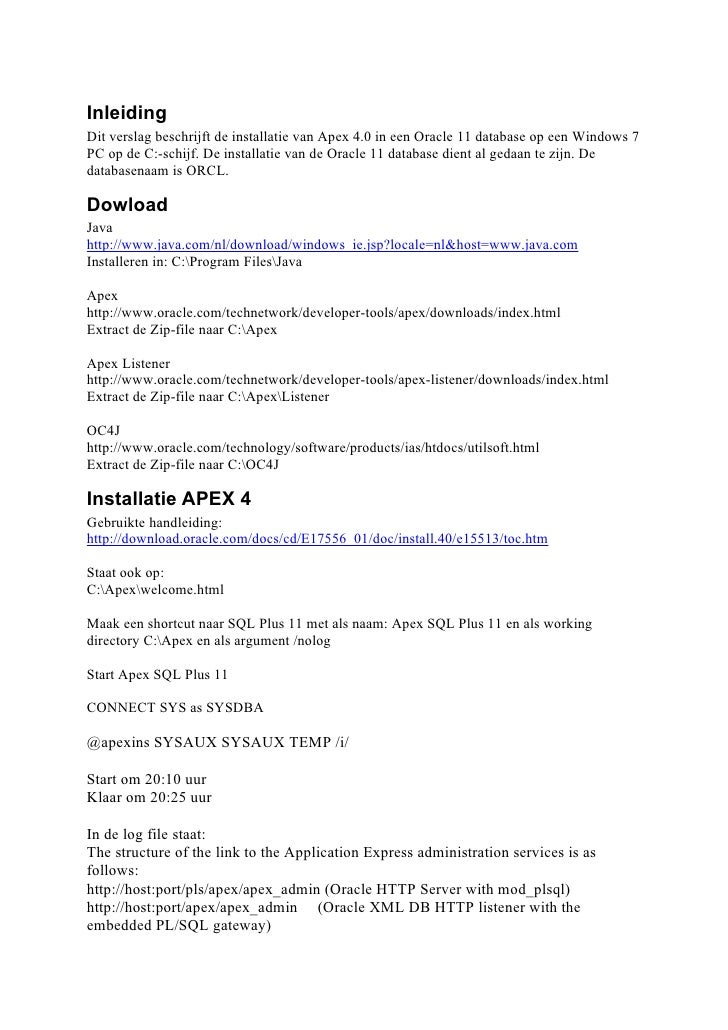 Installatieverslag Oracle Apex 4.0