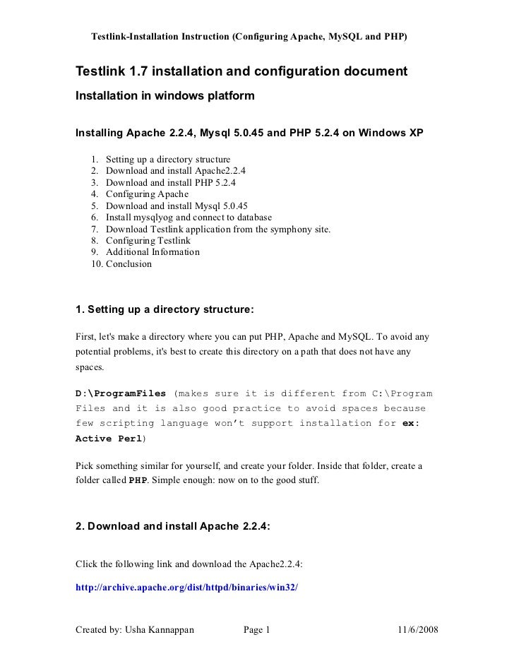 Installation instruction of Testlink