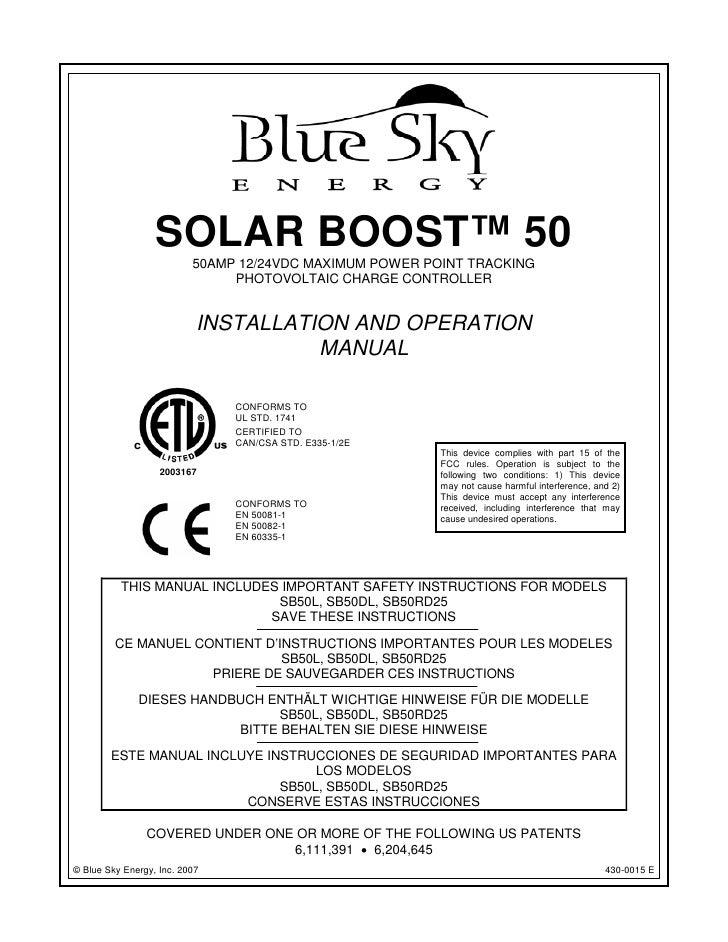 SOLAR BOOST™ 50                          50AMP 12/24VDC MAXIMUM POWER POINT TRACKING                               PHOTOVO...