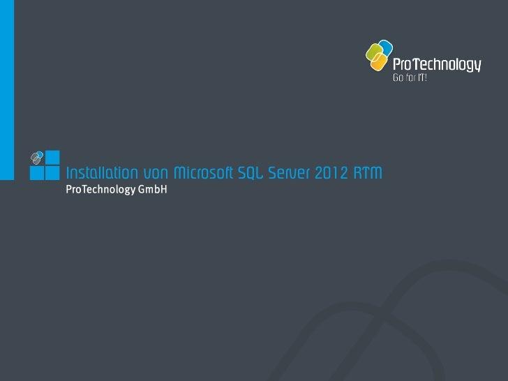 Installation von Microsoft SQL Server 2012 RTM