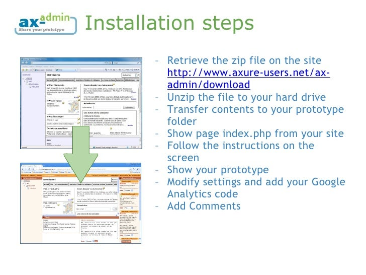 Installation steps <ul><ul><li>Retrieve the zip file on the site  http://www.axure-users.net/ax-admin/download   </li></ul...