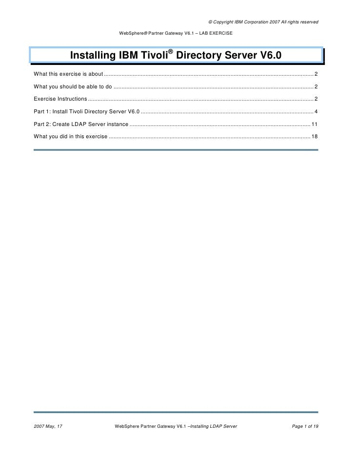 Installing ibm tivoli directory server v6.0 (web sphere partner gateway v6.1   lab exercise)