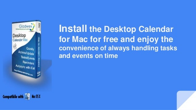 Desktop Calendar Mac : Install the desktop calendar for mac free