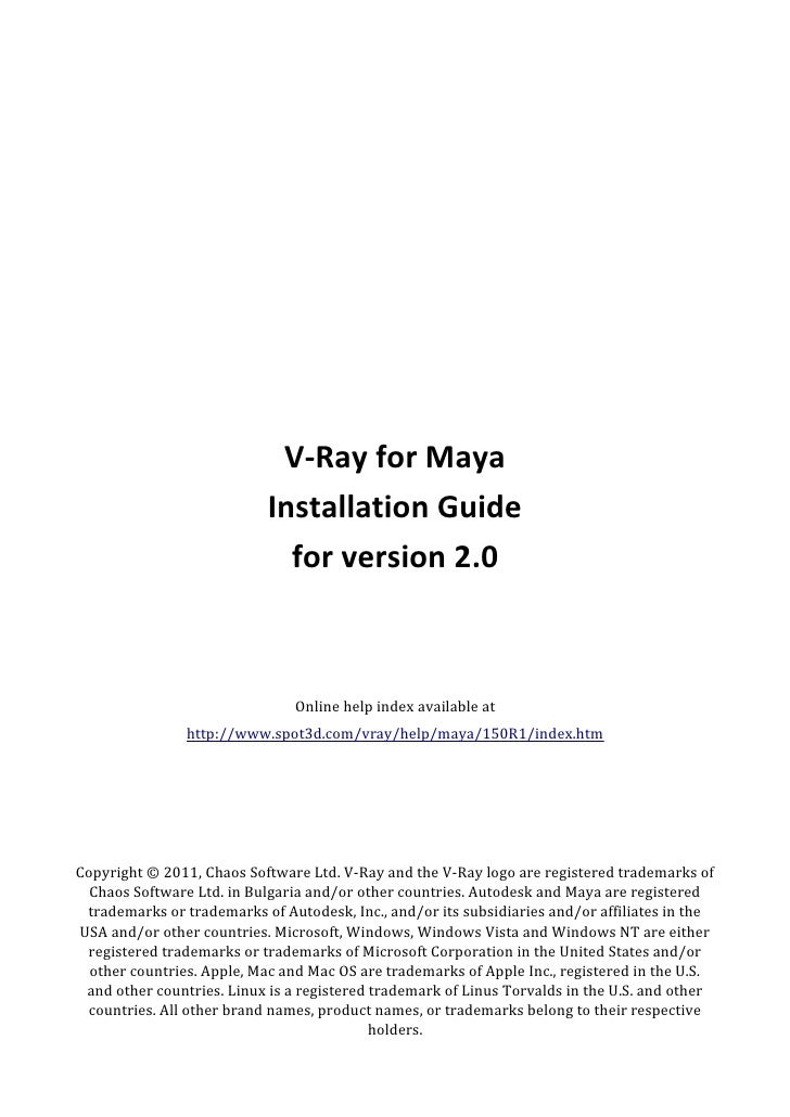 V-Ray for Maya                           Installation Guide                             for version 2.0                   ...