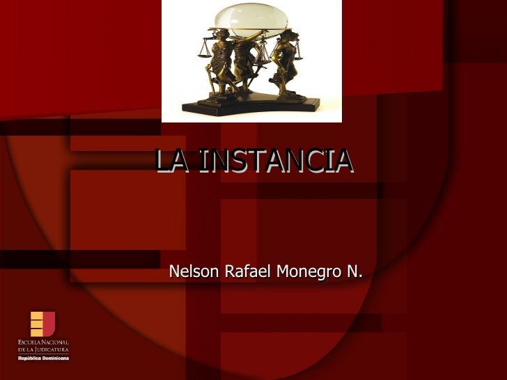 LA INSTANCIA <ul><ul><li>Nelson Rafael Monegro N. </li></ul></ul>