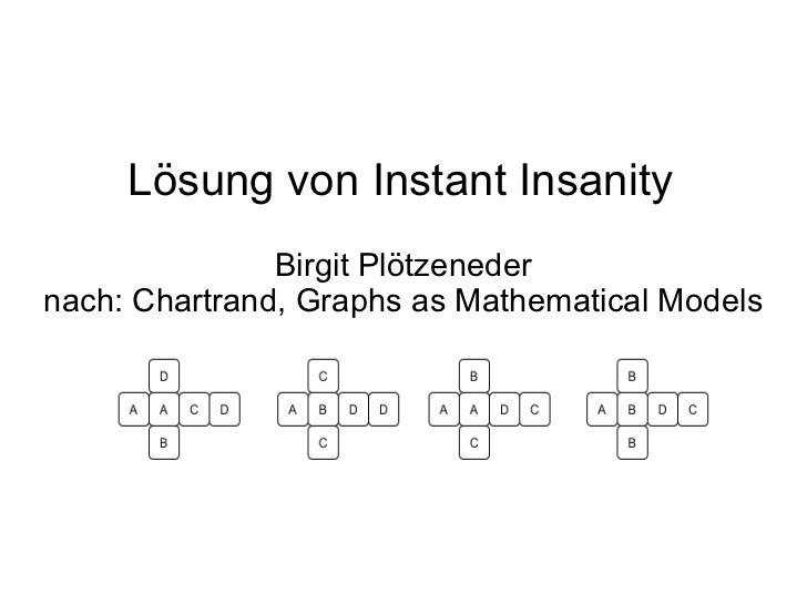 Lösung von Instant Insanity Birgit Plötzeneder nach: Chartrand, Graphs as Mathematical Models