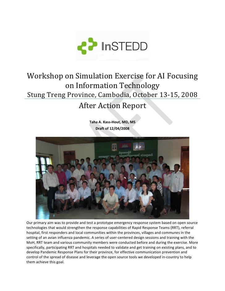 Workshop on Simulation Exercise for AI Focusing           on Information Technology  Stung Treng Province, Cambodia, Octob...