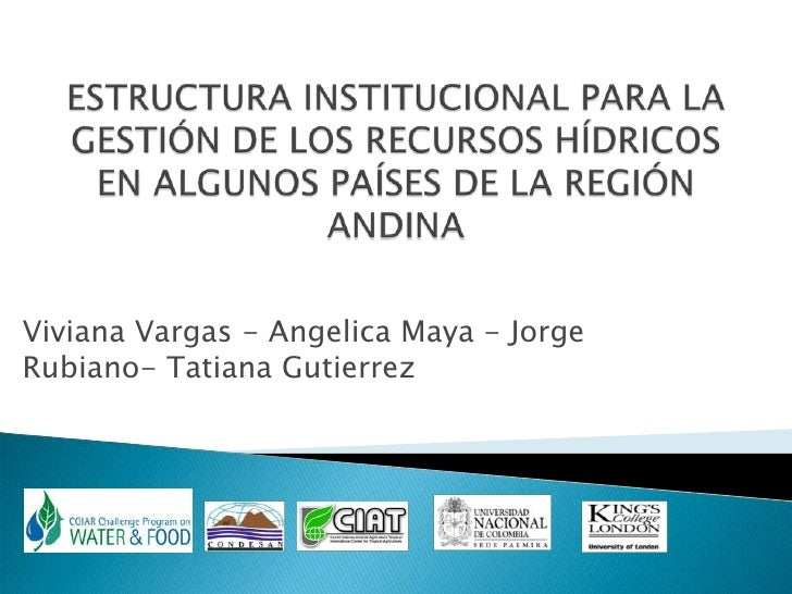 ESTRUCTURA INSTITUCIONAL PARA LA GESTIÓN DE LOS RECURSOS HÍDRICOS EN ALGUNOS PAÍSES DE LA REGIÓN ANDINA<br />Viviana Varga...