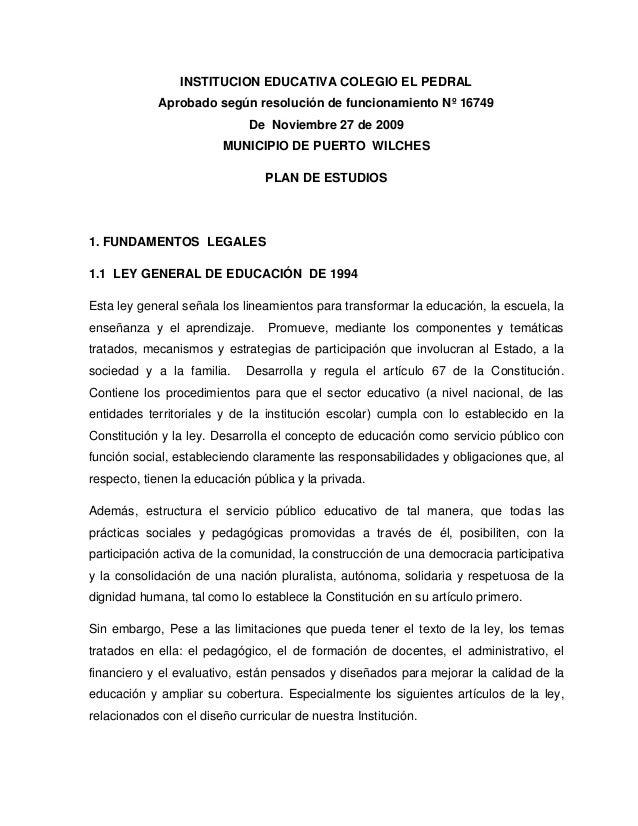 Institucion educativa colegio el pedral (plan de estudios)