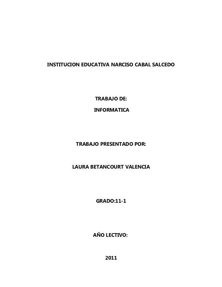 INSTITUCION EDUCATIVA NARCISO CABAL SALCEDO