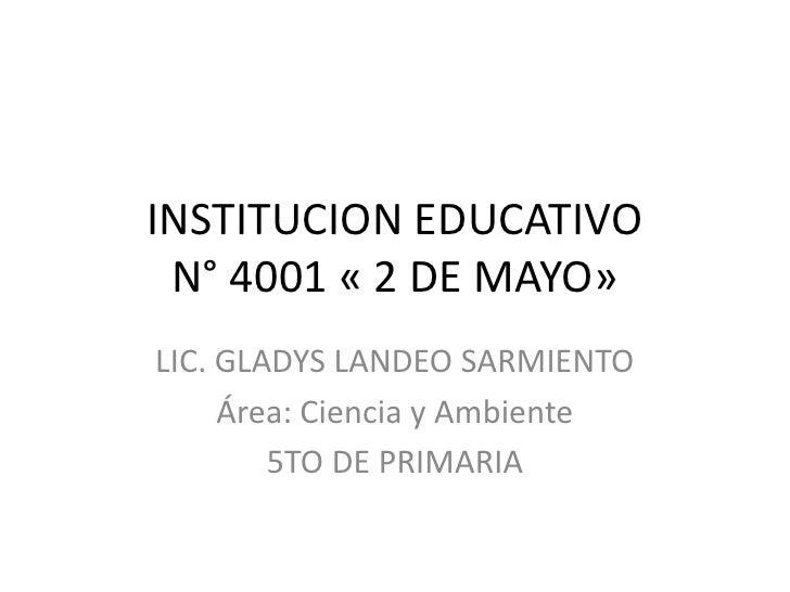 INSTITUCION EDUCATIVO N° 4001 « 2 DE MAYO»LIC. GLADYS LANDEO SARMIENTO     Área: Ciencia y Ambiente        5TO DE PRIMARIA