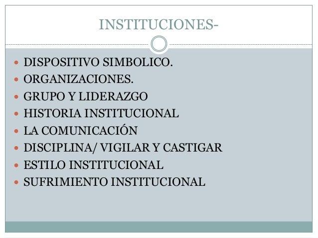 INSTITUCIONES DISPOSITIVO SIMBOLICO.  ORGANIZACIONES.  GRUPO Y LIDERAZGO  HISTORIA INSTITUCIONAL  LA COMUNICACIÓN  D...