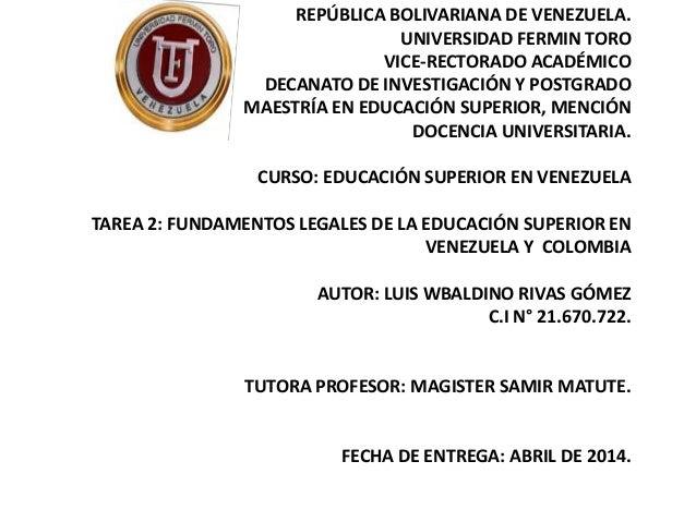 REPÚBLICA BOLIVARIANA DE VENEZUELA. UNIVERSIDAD FERMIN TORO VICE-RECTORADO ACADÉMICO DECANATO DE INVESTIGACIÓN Y POSTGRADO...