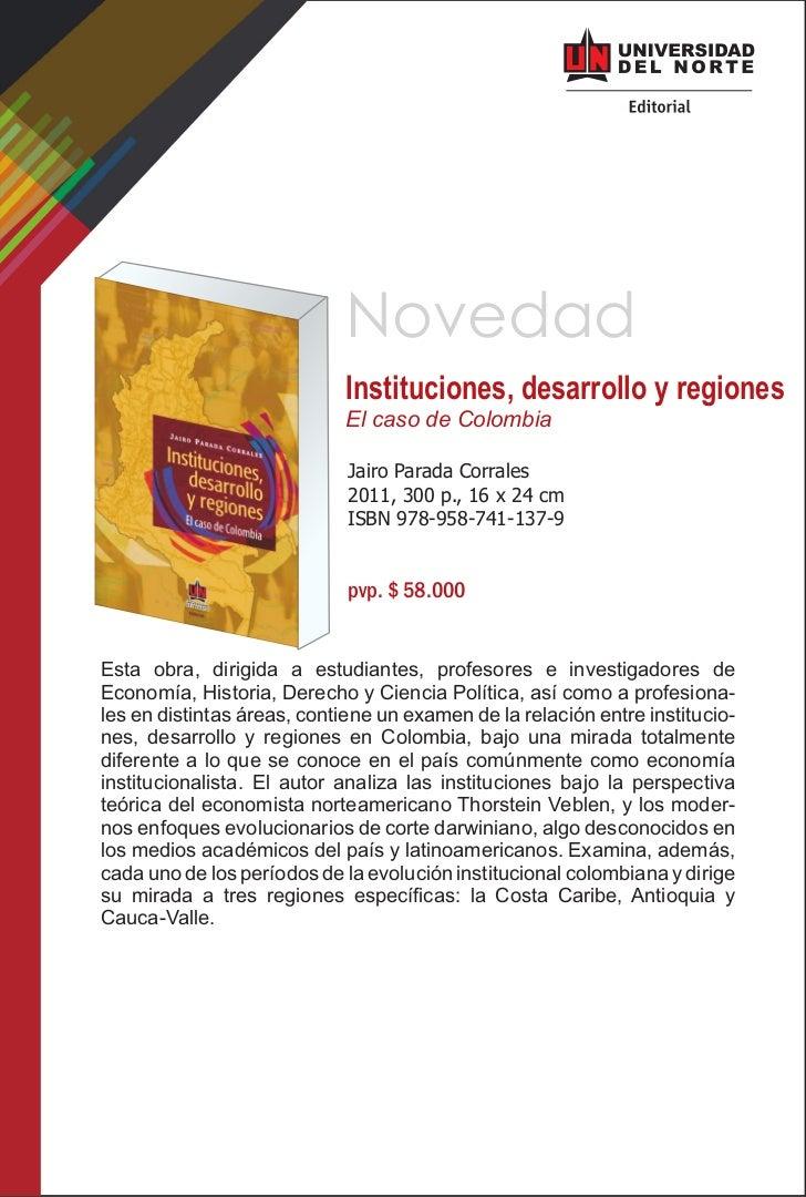 Novedad                            Instituciones, desarrollo y regiones                            El caso de Colombia    ...